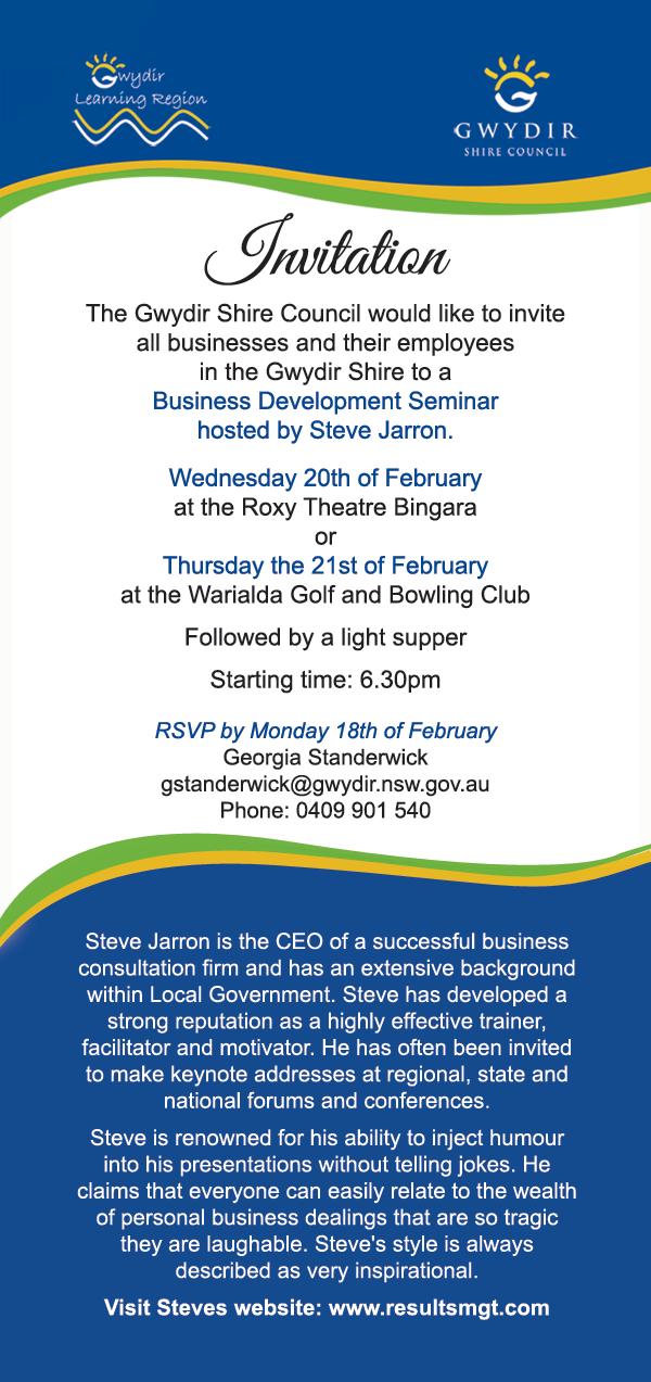 Business Development Seminar Invitation Bingara