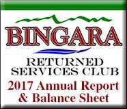 Bingara RSL 2017 Annual Report