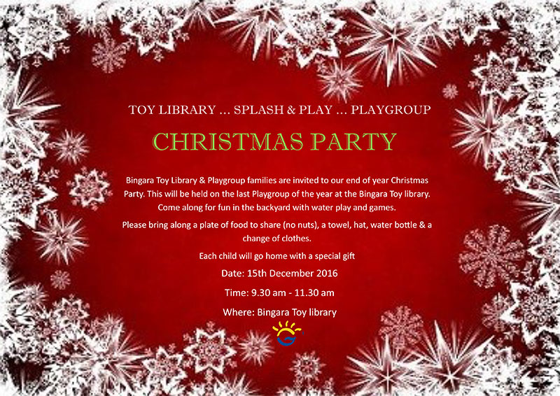 TOY LIBRARY … SPLASH & PLAY … PLAYGROUP Combined Christmas Party