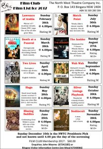 2017 NWTC Film Club movie list