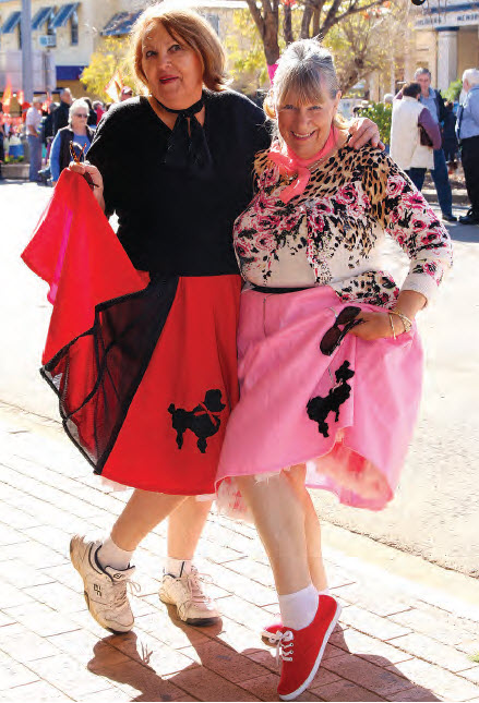 Bingara ladies, Gail List and Judy Adams ready to jive at the Orange Festival.