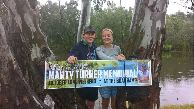 Winners of the Marty Turner Memorial fishing competition, Blake Fletcher and Anna Bridges.