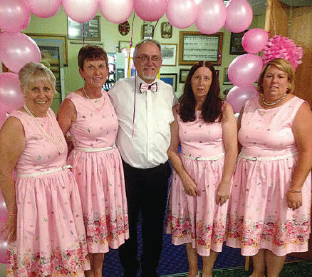 "Leanne Kilmore (second from left) and friends at the 2017 ""Pink Night""."