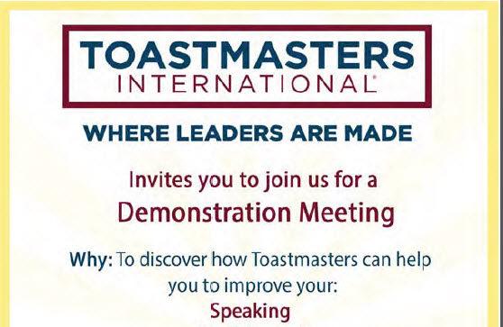 Toastmasters International Demonstration Meeting Invite
