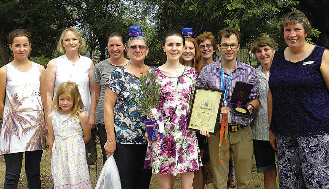 Bingara's Young citizen of the Year, Rachael Heaton, with Australia Day Ambassador, Matt Levy and members of the Bingara CWA.