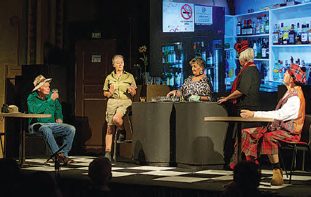 The farmer, Garry McDouall, scientist Ros Moulton, bartender Johnette Walker, artist Linda McDouall and Scotsman Rick Hutton on stage.