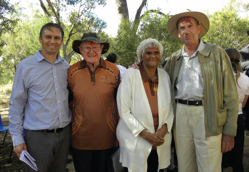 Speakers at the Myall Creek Memorial ceremony on Sunday, Keith Munro, John Brown, Sue Blacklock and Des Blake.