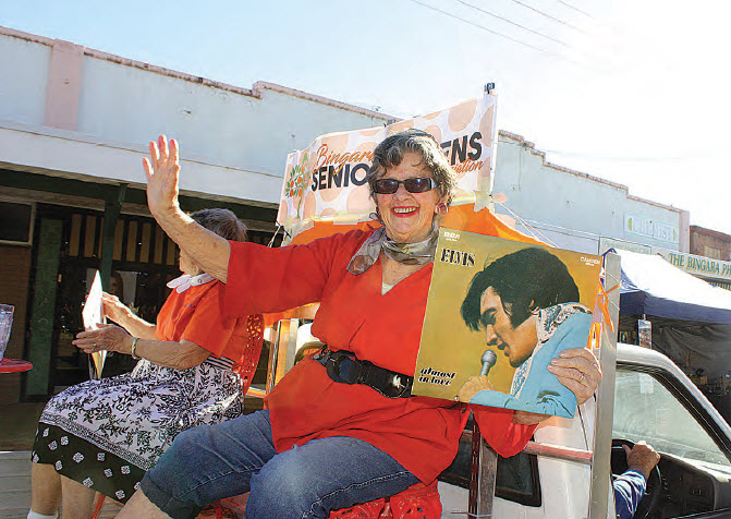 Jill Irlam, on the Bingara Senior Citizens float, got into the mood.