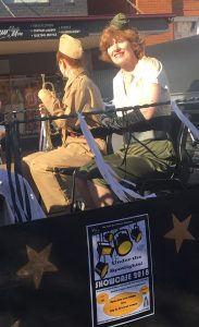 """Tanya Heaton as one of The Andrews Sisters will score a hit at the Showcase with """"The Boogie Woogie Bugle Boy"""" and is all smiles on the NWTC float."""