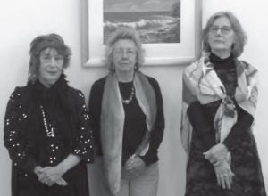 Artists Sylvia Davies, Robyne Berling and Suzanne Lane, who all donated works to be auctioned for the drought appeal.