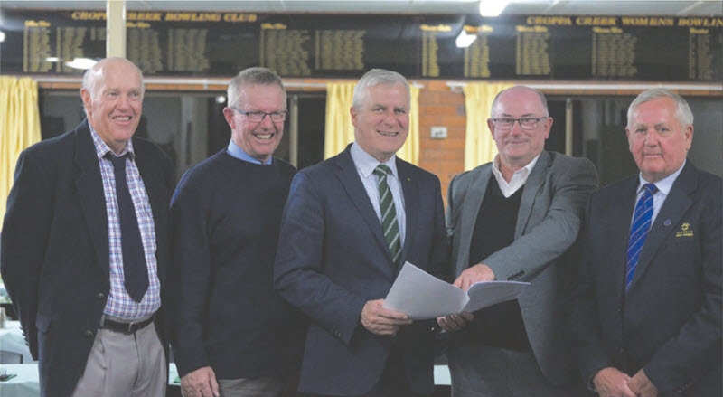 Doug Barnett, Member for Parkes, Mark Coulton, Deputy Prime Minister Michael McCormack, Gwydir Council General Manager, Max Eastcott and Mayor, John Coulton at Croppa Creek.