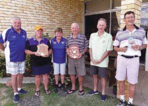 "The winners left to right: Gerry Amer, R/U, Bingara; Suzanne Mason, winner, Kandos; Rosemary Rampling, R/U, Bingara; Ken Bullock, winner, Sydney; Wayne Berry, R/U, Hunter Valley Golf Club; Ray Clegg, ""Hole in One"", Muree Qld"