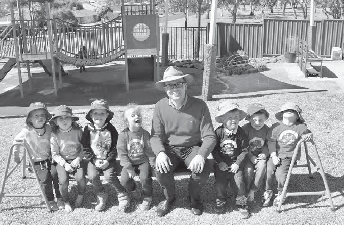 Northern Tablelands MP Adam Marshall, centre, with Warialda Preschool students. Left:Cate Barnett, Dakota Rose, Levi Taylor, Poppie McClymont, Reid Rose, Rylan Bostock and Ziggy Hall.