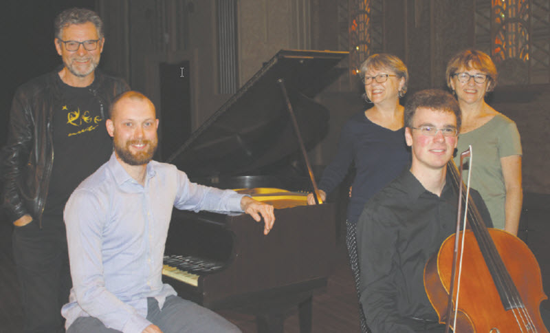 Pianist Thomas Williams and cellist Robert Manley were joined by the nephew of the late Lorna Howell, Rick Hutton and his sisters Debbie Smithers and Cathy Hutton to celebrate the arrival of the Lorna Howell baby grand piano.