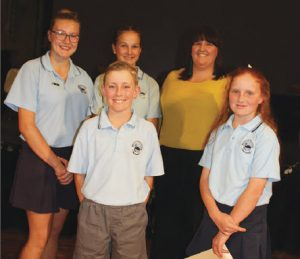 Leadership team: Erica Dixon, Jacqueline Coombes and Mrs. Brooke Wall, and in front, Clayton Brien and Jane Newnham.