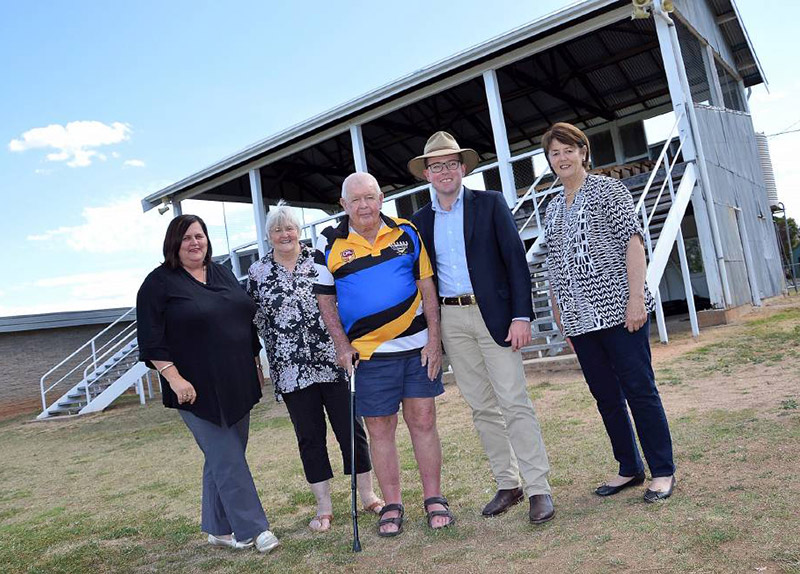 Gwydir Shire Council Deputy General Manager Leeah Daley, left, Councillor Marilyn Dixon, Bingara Rugby League Club veteran Graham 'Bill' Dixon, Northern Tablelands MP Adam Marshall and Gwydir Shire Deputy Mayor Catherine Egan in front of the grandstand at Gwydir Oval.