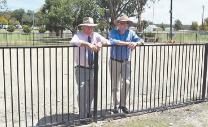 Gwydir Shire Councillor David Coulton, left, with Northern Tablelands MP Adam Marshall at Warialda's Captain Cook Park, which is about to undergo a major upgrade.
