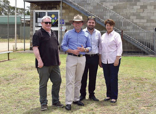 Gwydir Shire's Community Development Manager, Tim Cox, left, Northern Tablelands MP Adam Marshall, Gwydir Shire Council's Fitness Centres Coordinator Graham Cutmore and Deputy Mayor Catherine Egan outside the town's gym and fitness centre.