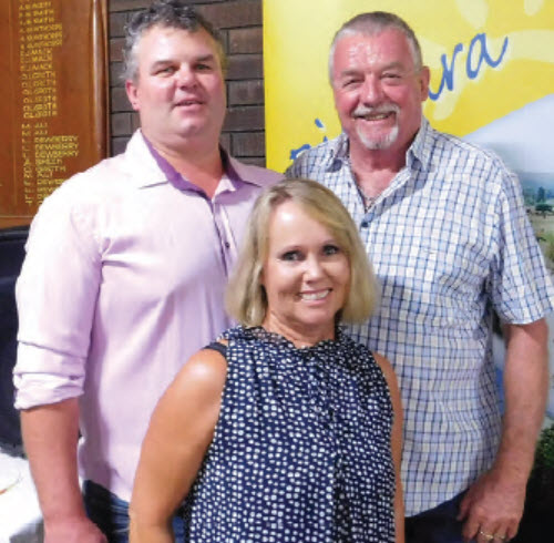 Guest speaker, Brad McManus, with Sporting Club Secretary, Judy Northcott and President, Gerry Amer.