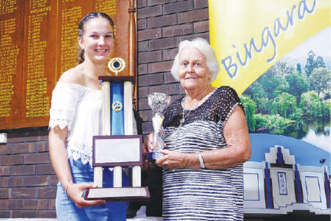 Jacqueline Coombes, Bingara's Sportsperson of the Year, with Irene Edwards.
