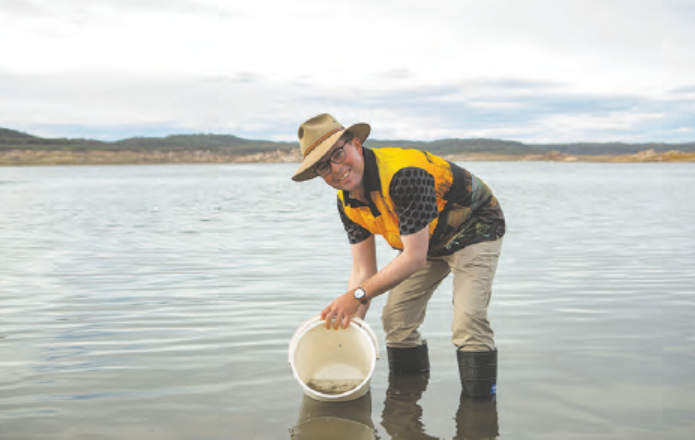Member for Northern Tablelands, Adam Marshall, along with fishing club members from Inverell, joined in the fun of releasing golden perch into Copeton Dam.