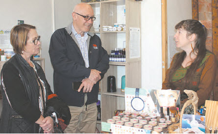 Damien Tudehope and his wife, Diane, chat with co-owner of the Sapphire Salt Cave, Sam Bremmel.
