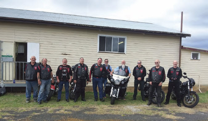 Members of the Patriots Australia Military Motorcycle Club outside the Bingara Scout Hall at Gwydir Oval.