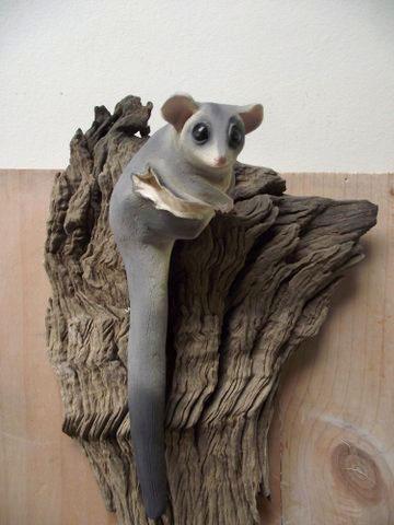 Squirrel Glider, clay sculpture by Maggie Brockie