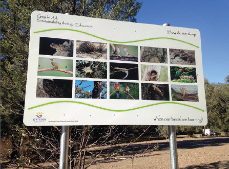 This sign shows local photographs of wildlife found in and around the Gwydir River at Bingara.