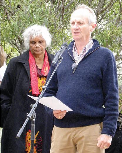 Sue Blacklock and Mark Tedeschi at the Myall Creek Memorial.